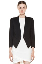 Helmut Lang Smoking Wool Tux Blazer In Black