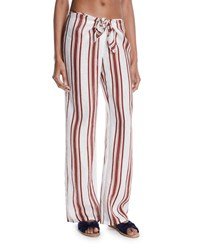 Tory Burch Kellen Striped Tie Front Linen Beach Pants Spice