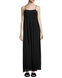 Vince Pintucked Silk Sleeveless Maxi Dress Black