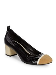 Lanvin Cube Heel Patent Leather Cap Toe Ballerina Pumps Black Multi