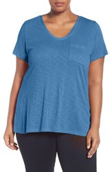 Caslonr Plus Size Women's Caslon Rounded V Neck Tee Blue Regatta