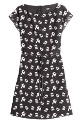 Karl Lagerfeld Painted Print Silk Dress Black