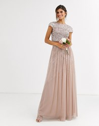 Maya Bridesmaid Delicate Sequin Tulle Skirt Co Ord In Taupe Brown