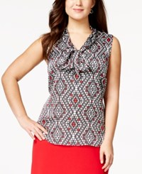 Nine West Plus Size Tie Neck Chiffon Geometric Print Blouse Fire Red Ivory Multi