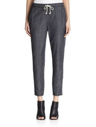 Eileen Fisher Chambray Drawstring Pants Faded Black
