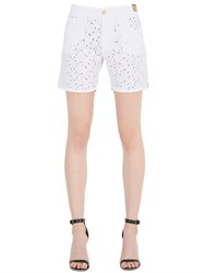Monocrom Cotton Eyelet Denim Shorts