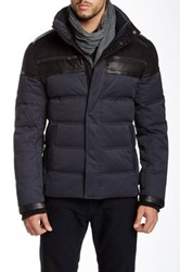 Rogue Faux Suede Puffer Jacket With Leather Trim Blue