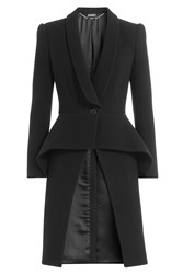 Alexander Mcqueen Wool Coat With Shawl Collar And Peplum Black