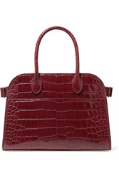 The Row Margaux 10 Buckled Alligator Tote Burgundy