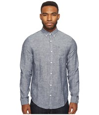 Original Penguin Long Sleeve Nep Linen Non Solid Solid Woven Shirt Dark Sapphire Men's Long Sleeve Button Up Blue