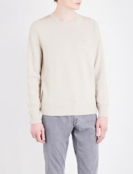 Canali Suede Patch Detail Wool Jumper Stone