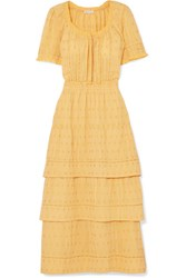 Loveshackfancy Heather Tiered Embroidered Cotton Midi Dress Yellow Gbp