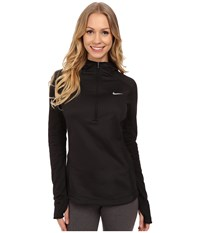 Nike Dri Fit Thermal Hoodie Black Black Reflective Silver Women's Long Sleeve Pullover