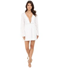 Gypsy05 Long Sleeve Deep V Mini Dress White Women's Dress