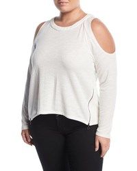 P. Luca Plus Side Zip Cold Shoulder Tee Off White