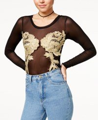 Material Girl Juniors' Mesh Applique Bodysuit Created For Macy's Caviar