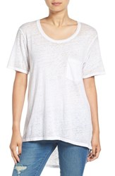 Sun And Shadow Women's Burnout Pocket Tee White