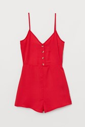 Handm H M Jumpsuit With Buttons Red