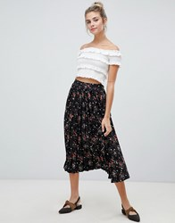Influence Pleated Midi Skirt In Floral And Star Print Black Floral