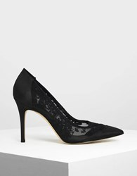 Charles And Keith Embroidered Mesh Pointed Pumps Black