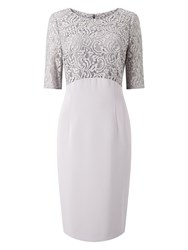 Jacques Vert Lace And Crepe Dress Grey