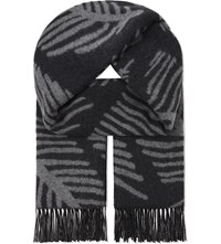 Johnstons Jacquard Cashmere Stole Charcoal