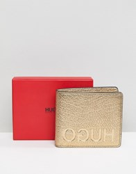 Hugo Leather Coin Wallet In Gold