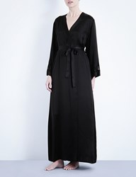 Nk Imode Long Silk Satin Robe Black Black Lace