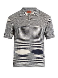 Missoni Faded Stripe Cotton Jersey Polo Shirt Navy Multi