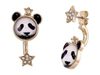 Betsey Johnson Costume Critters Panda Front Back Earrings Black White Earring