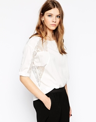 Y.A.S Long Sleeve Shirt With Lace Arm Inserts Whisperwhite