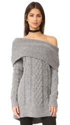 Kendall Kylie Oversized Cable Tunic Sweater Medium Heather Grey