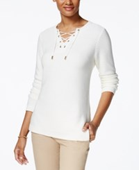 Charter Club Lace Up Split Neck Sweater Only At Macy's Cloud