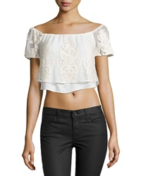 Madison Marcus Embroidered Tulle Crop Top Ivory