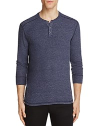 Velvet Faust Heathered Long Sleeve Henley Tee Blue