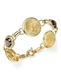 Bloomingdale's Smoky Quartz Coin Bracelet In 14K Yellow Gold Brown Gold