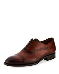Magnanni Cap Toe Leather Oxford Shoe Brown