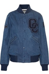 Opening Ceremony Appliqued Denim Bomber Jacket Mid Denim