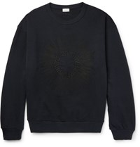 Dries Van Noten Hoxton Oversized Embroidered Loopback Cotton Jersey Sweatshirt Blue