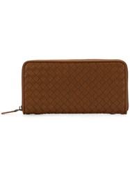 Bottega Veneta All Around Zipped Wallet Brown