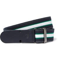 Tod's 3Cm Navy Leather Trimmed Striped Canvas Belt Blue