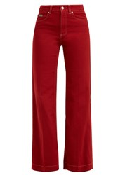 Alexachung High Rise Kick Flare Jeans Red