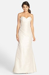 Women's Jim Hjelm Occasions Strapless Dupioni Sweetheart Trumpet Gown Champagne