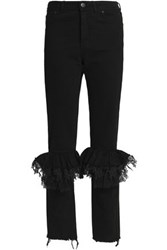 Preen Ruffled Lace Trimmed High Rise Slim Leg Jeans Black