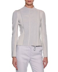 Giorgio Armani Ottoman Ribbed Asymmetric Zip Jacket Gray
