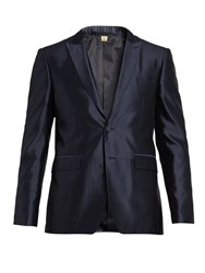 Burberry Peak Lapel Silk Dinner Jacket Navy Multi
