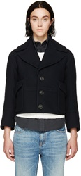 Dsquared Navy Wool Cropped Peacoat