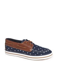 Asos Boat Shoes With Anchor Print Navy