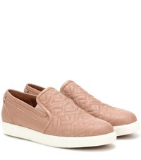 See By Chloe Embroidered Leather Slip On Sneakers Neutrals