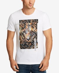 William Rast Men's Lion Dragon Graphic Print Cotton T Shirt White